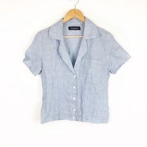 Reformation Holiday Shirt Blue Stripe Button Down